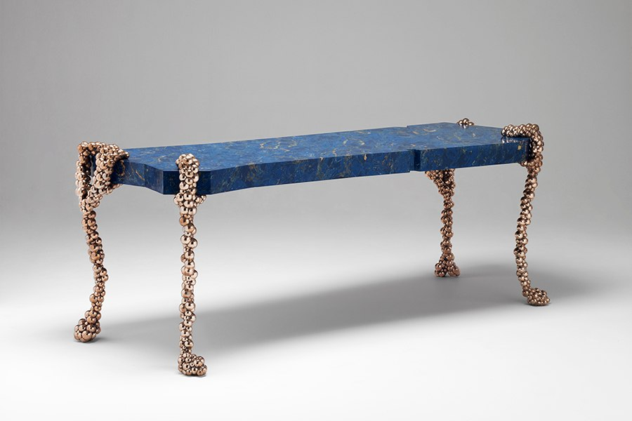 Swiss-born, Paris-based designer Mattia Bonetti created only five examples of his 2012 Venetian console for Editions David Gill. Bronze cabriole legs composed of hundreds of bronze beads hold up a vivid asymmetrical blue top made of scagliola, a handmade artificial marble. David Gill Gallery is selling the table for approximately $92,000.
